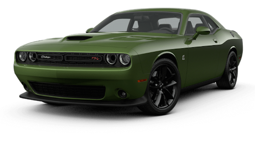 A green 2019 Dodge Challenger R/T Scat Pack