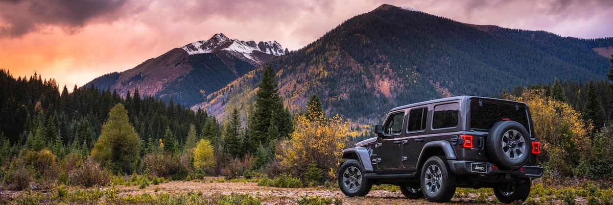 A black Jeep Wrangler parked by the mountains