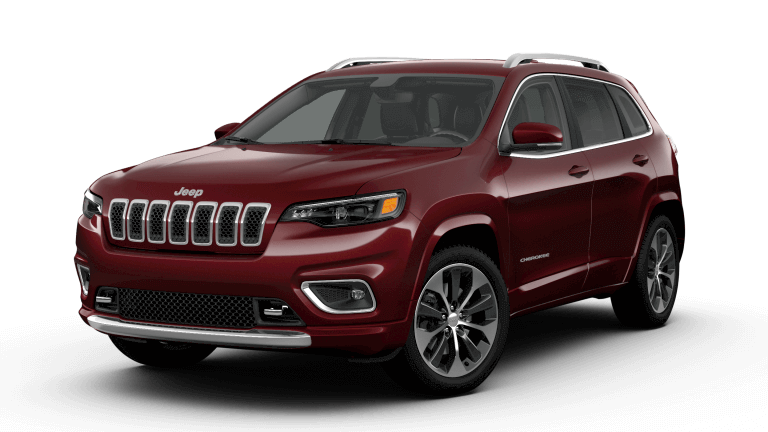 A red 2019 Jeep Cherokee Overland