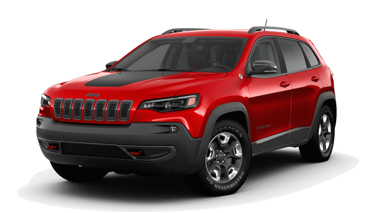 A red 2019 Jeep Cherokee Trailhawk