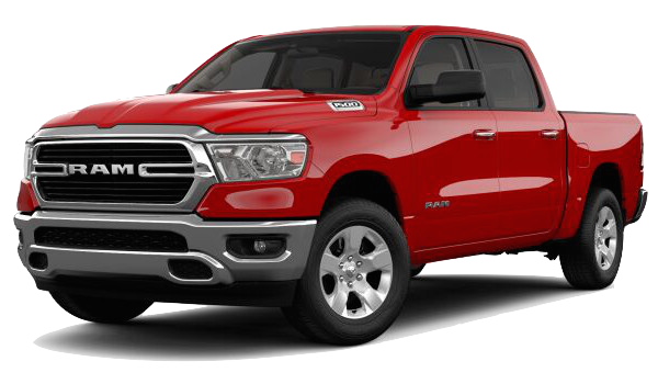 A red 2019 Ram 1500 Big Horn/Lone Star