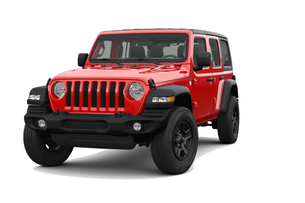 A red 2019 Jeep Wrangler