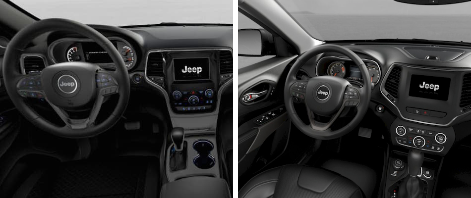 The interiors of the Jeep Grand Cherokee and Cherokee