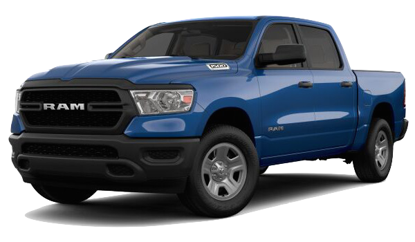 A blue 2019 Ram 1500 Tradesman