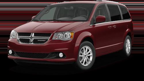 A red 2019 Dodge Grand Caravan SXT