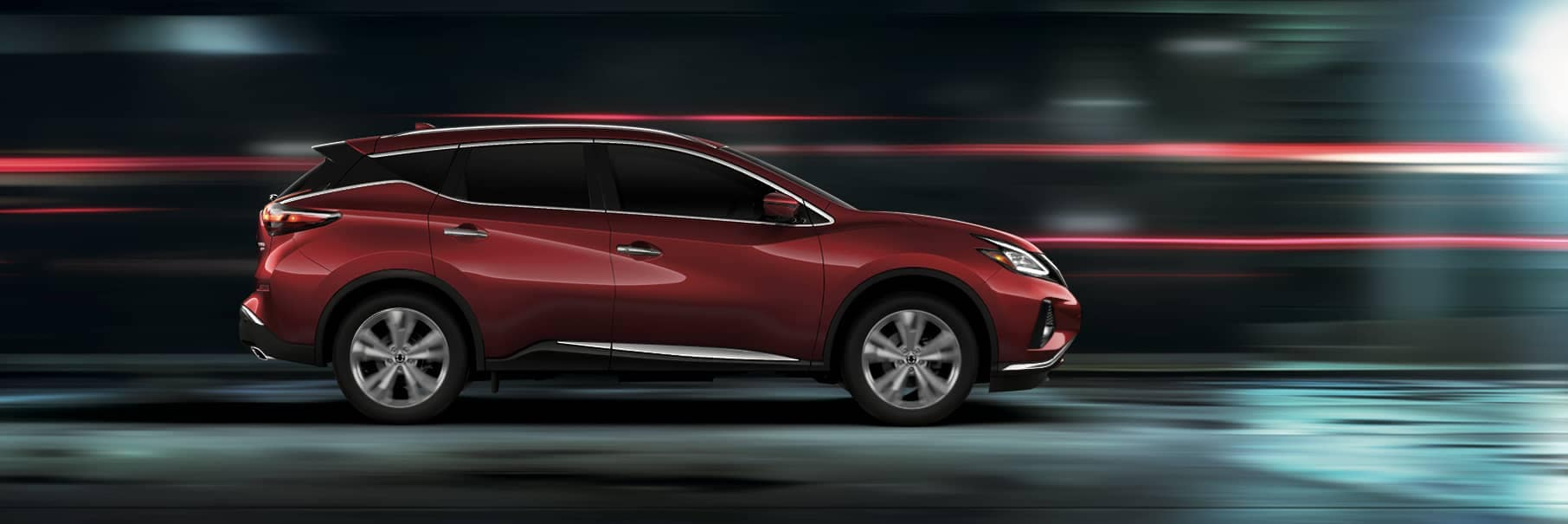 2020 Red Murano in a tunnel, sideview