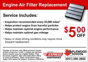 Toyota Air Filter Coupon