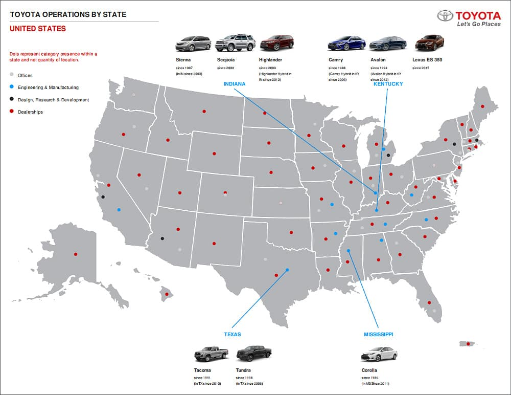 Toyota Operations Map USA