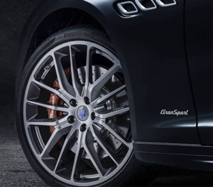 The wheel of a Maserati GranSport - it looks like it can roll forever