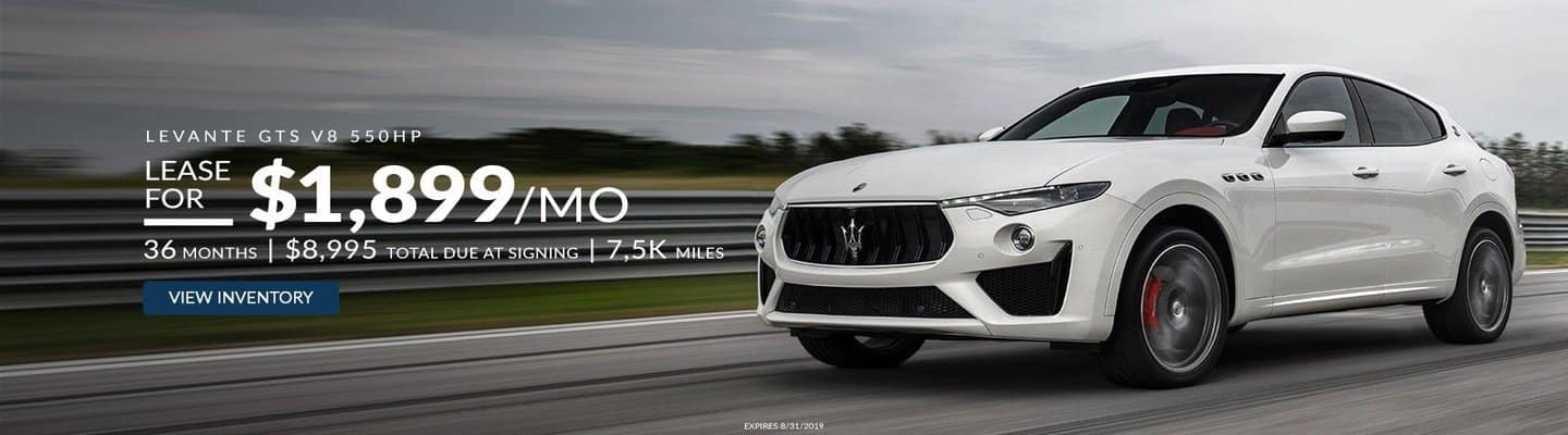 An image of a white 2019 Maserati Levante GTS fit