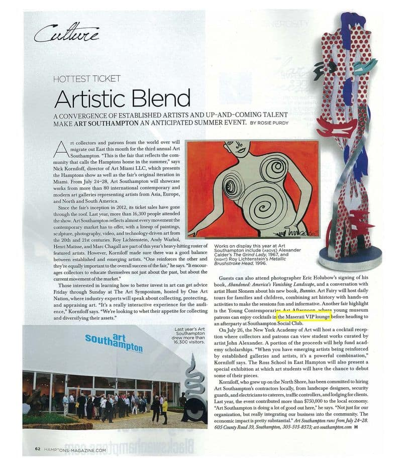 Hamptons Magazine: Art Southampton Coverage