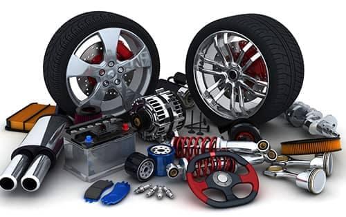 display of car parts
