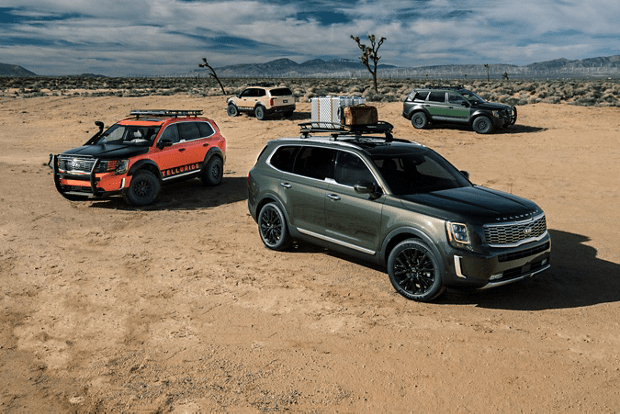 several Tellurides parked in desert