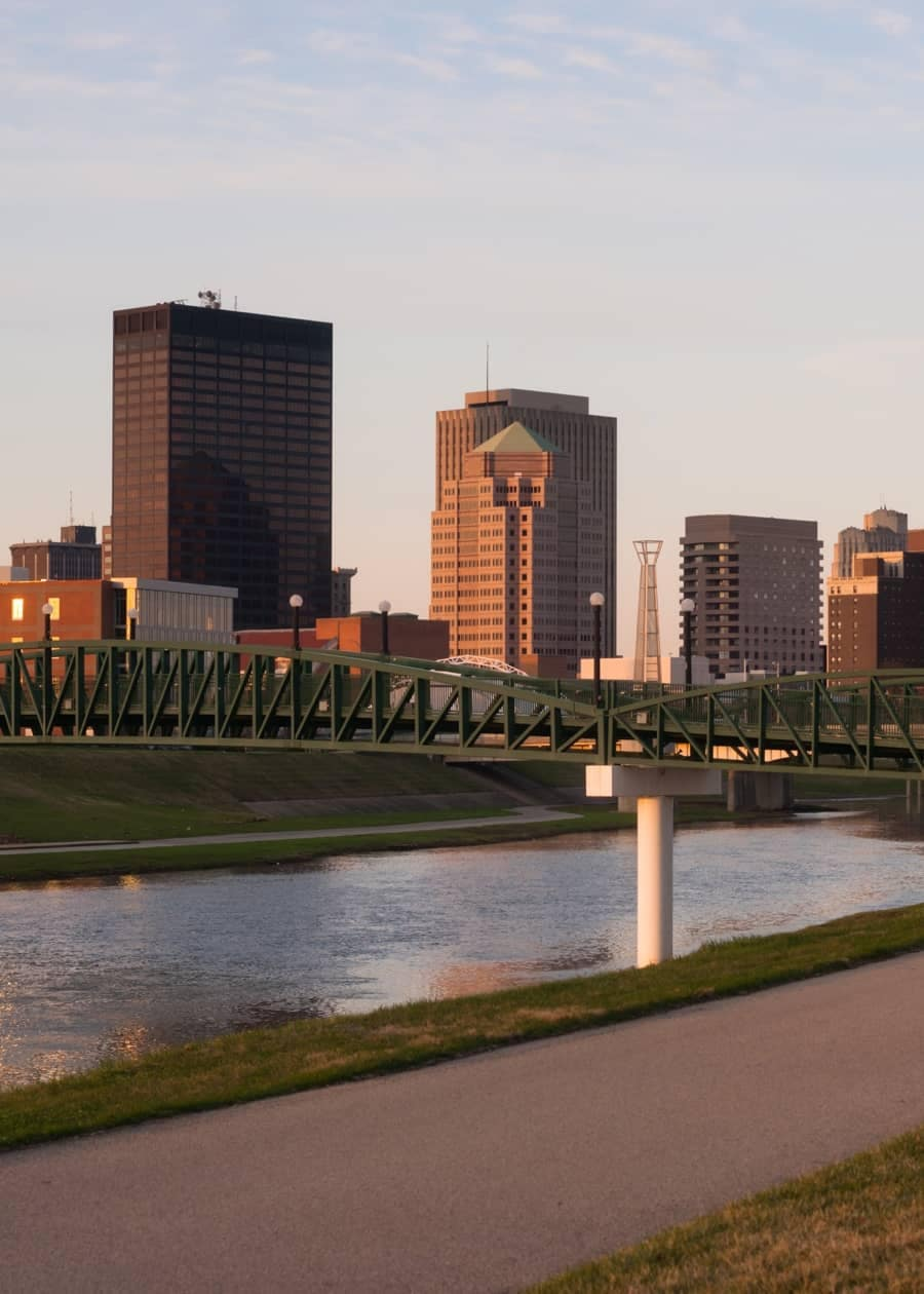 View looking across the river to downtown Dayton