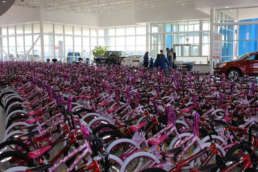 hundreds of bikes in dealership