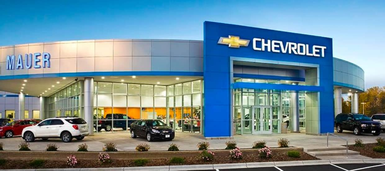 Mauer Chevrolet Dealership at dusk