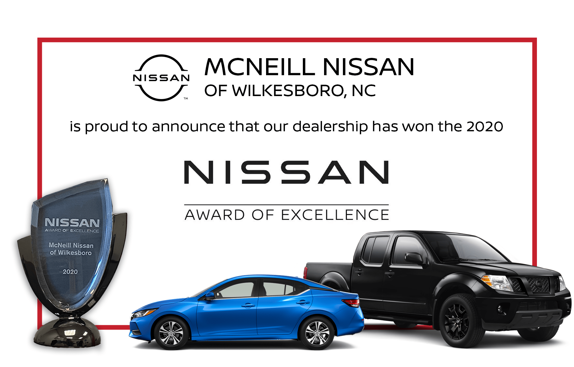 McNeill Nissan of Wilkesboro award of excellence 2020