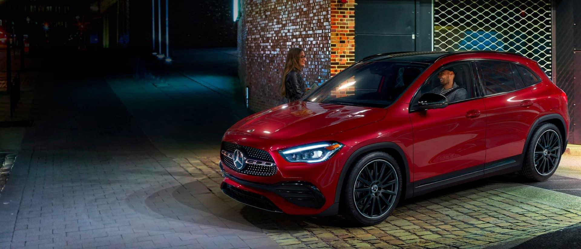 Red Mercedes-Benz SUV