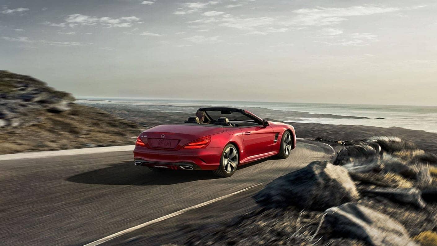 picture of convertible Mercedes-Benz Roadster overlooking the ocean