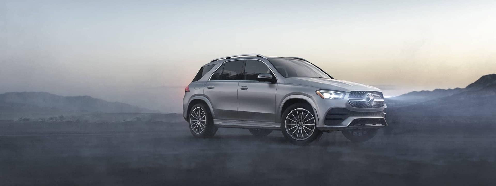 2020 GLE SUV parked overlooking mountain sunset
