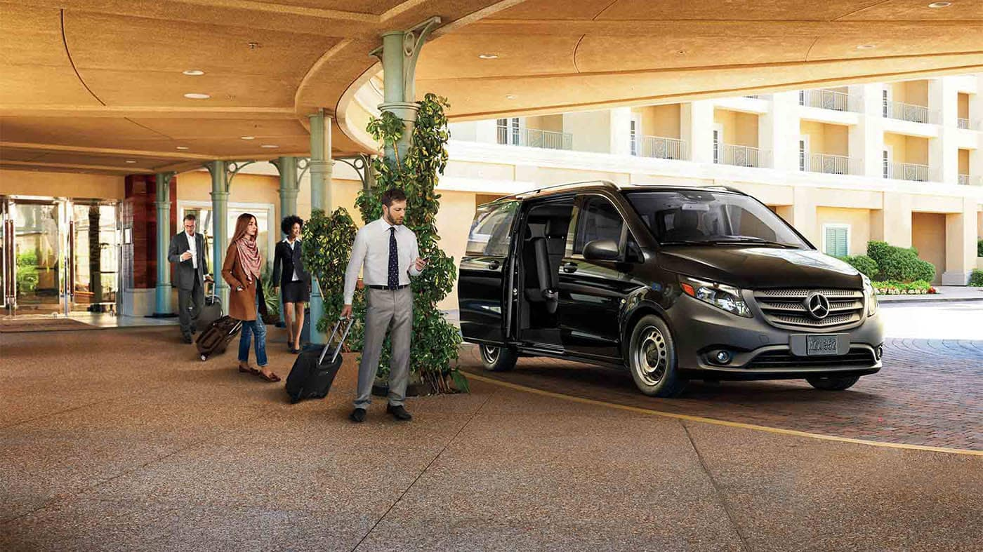 picture of man loading into his Mercedes-Benz Metris at hotel valet