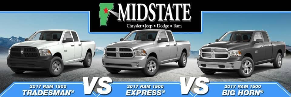 2017 Ram 1500 Tradesman vs  Express vs  Big Horn   Midstate CDJR