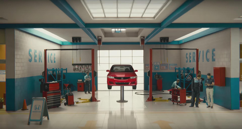Honda Civic in a Service Bay
