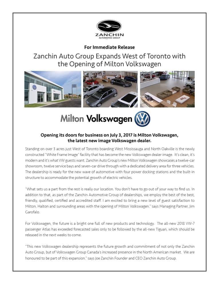 Milton VW Press Release