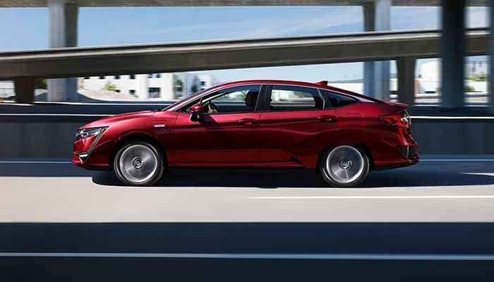 2018 Honda Clarity Plug In Hybrid driving down the highway