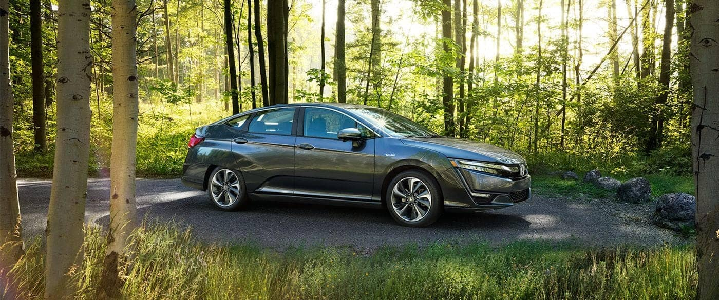 2018 Honda Clarity Plug In Hybrid Parked in Woods
