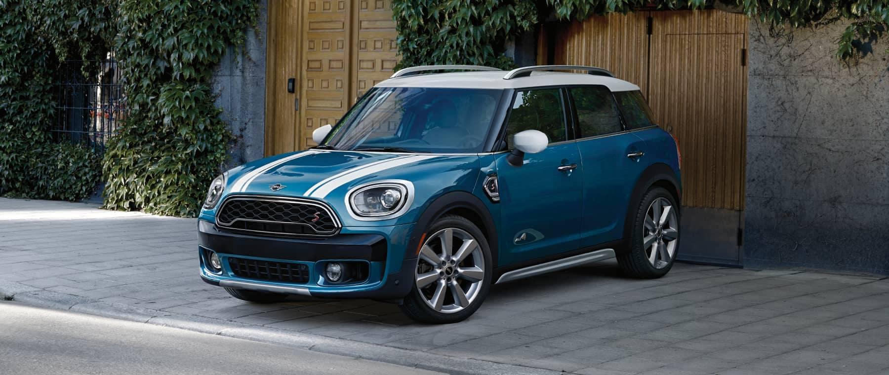 Blue MINI parked