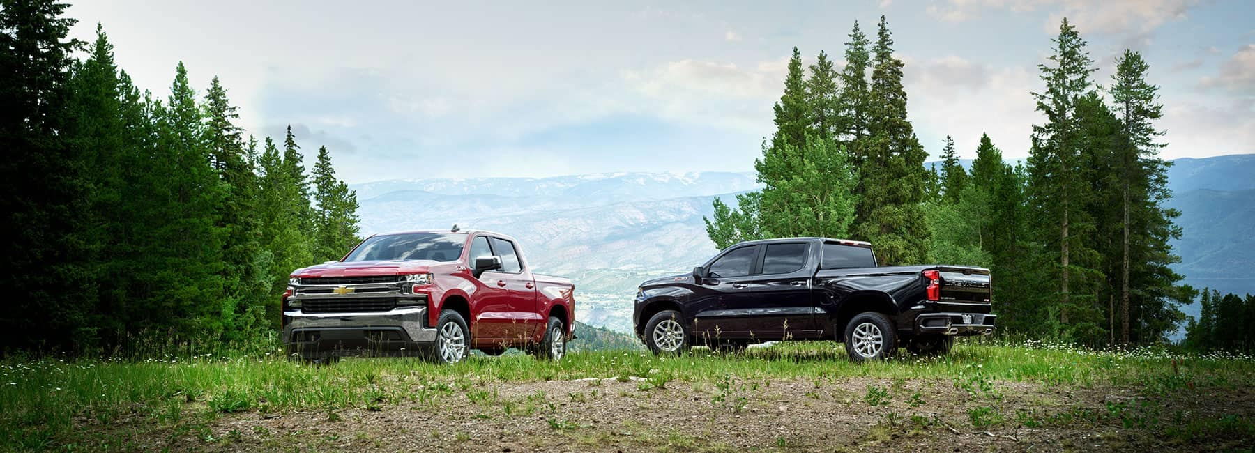2019 Chevrolet Trucks Parked on a Hill