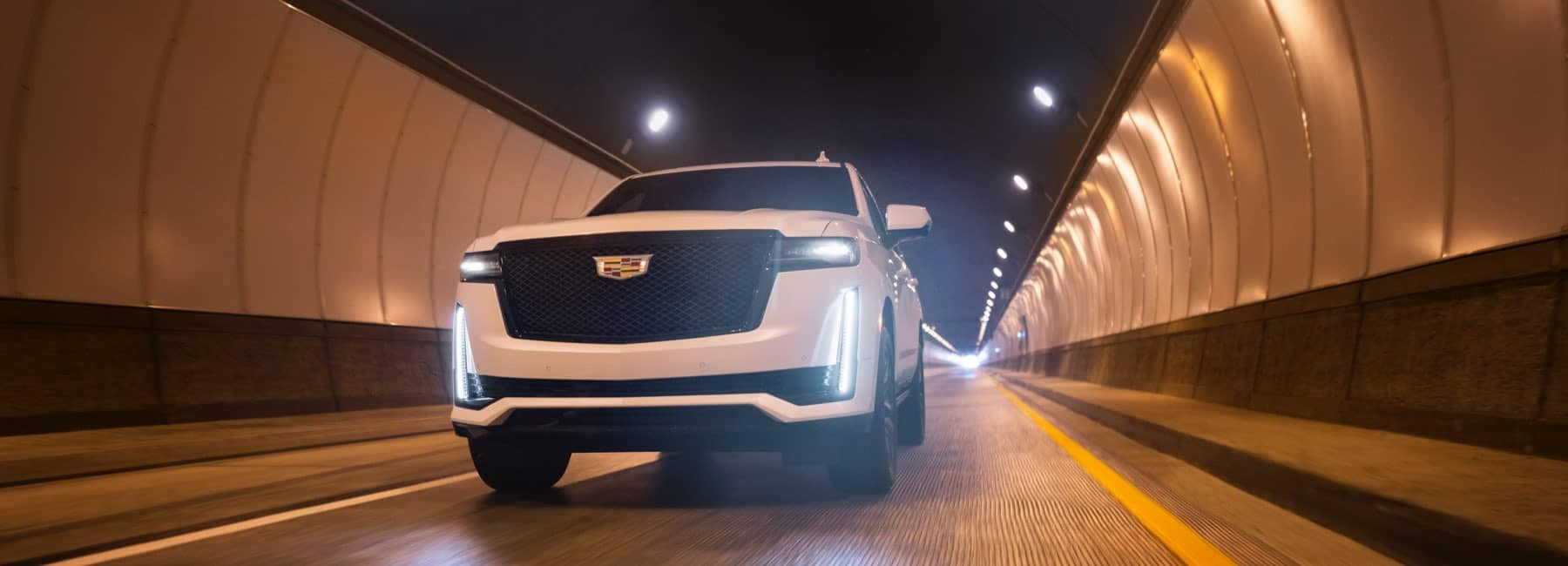 2021 Cadillac Escalade driving through tunnel