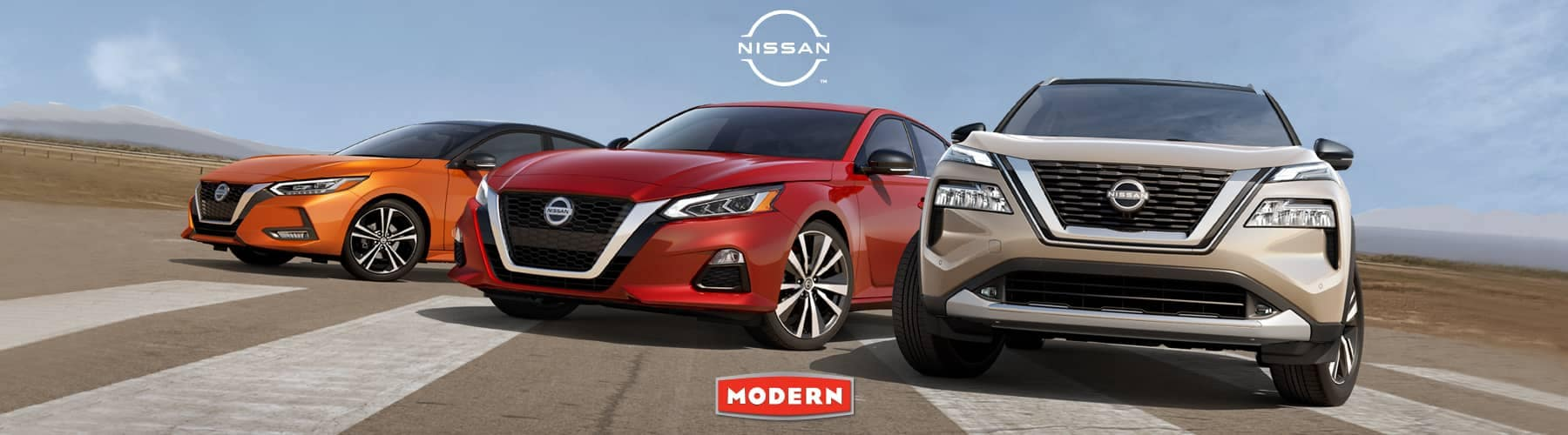 Nissan vehicle lineup outdoors