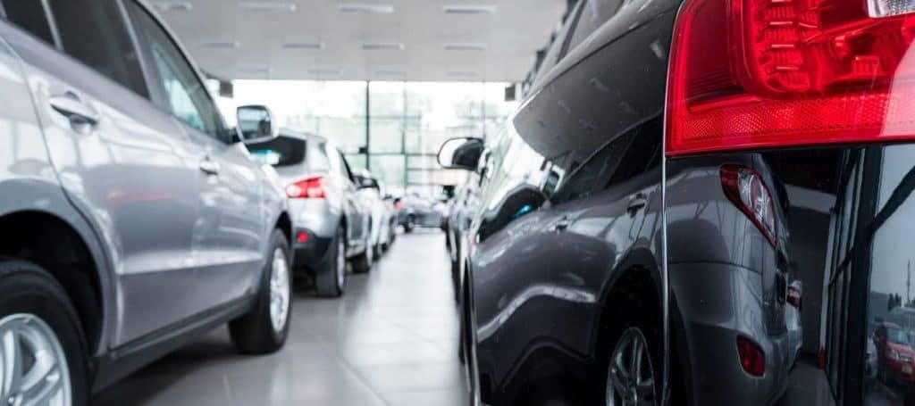 rear bumpers of cars in showroom