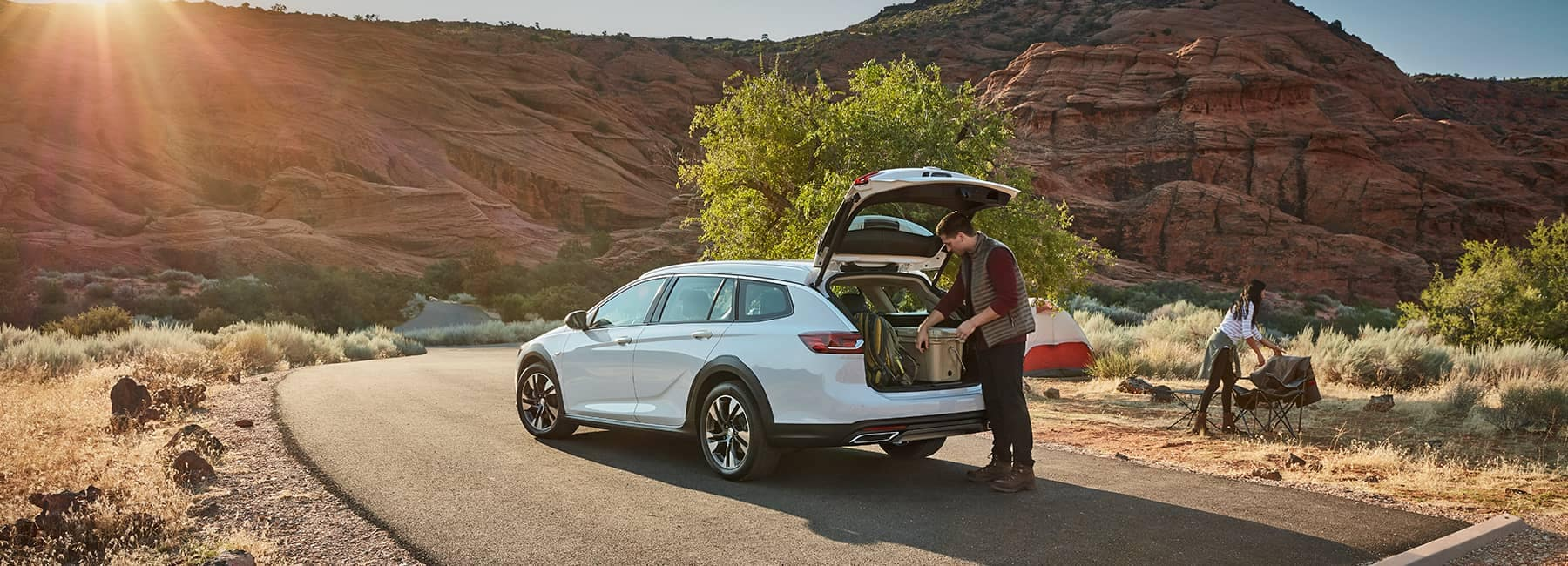 White 2020 Buick Regal TourX on a Desert Rd