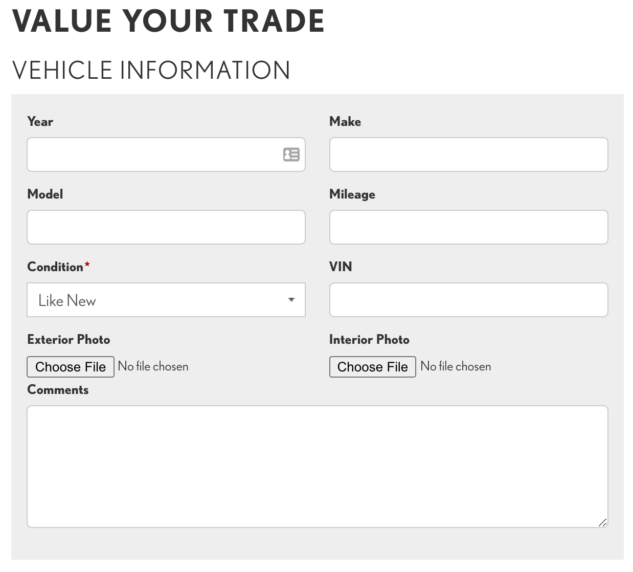 Value Your Trade form