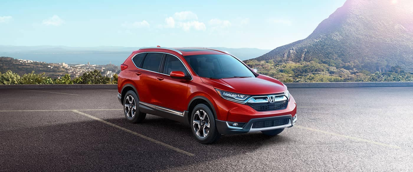 2018 Honda CR-V parked with mountain background