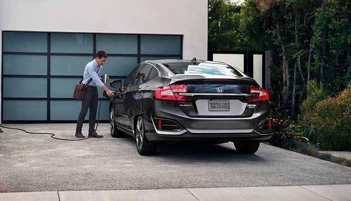 2018 Honda Clarity Plug In Hybrid plugged in outside the house