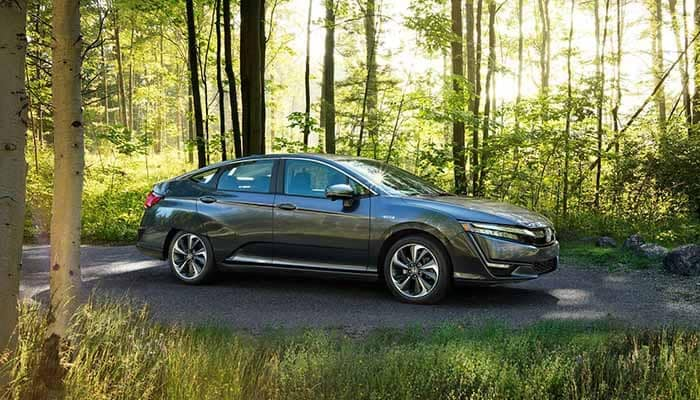 2018 Honda Clarity Plug In parked in the woods