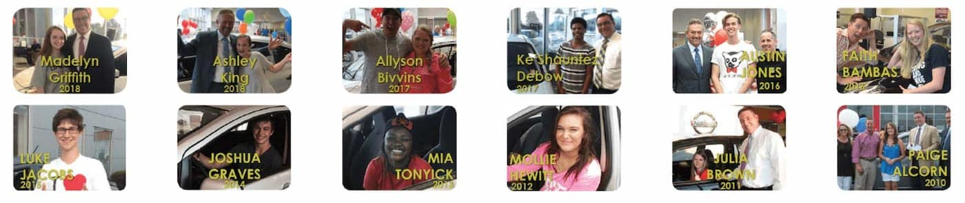 Twelve of the previous winners of the car giveaway are shown.