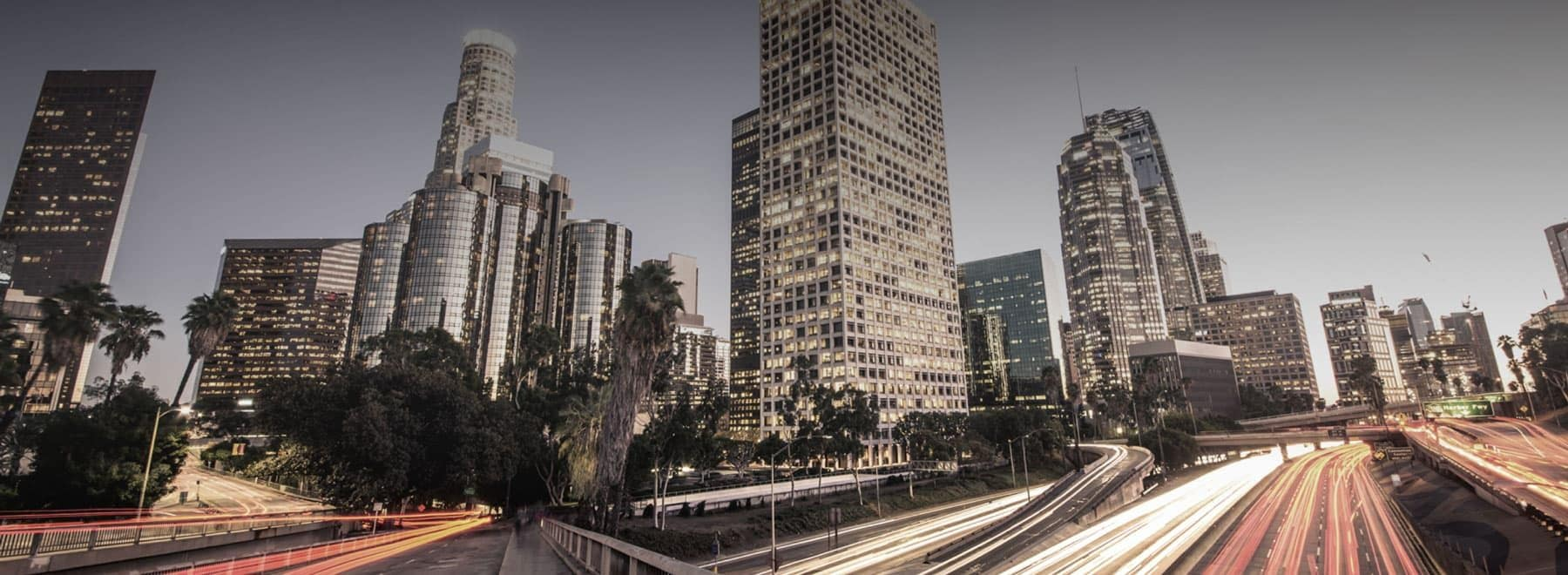 View of Downtown L.A. during rush hour