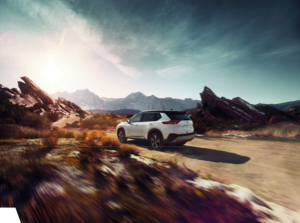 2021 Nissan Rogue in Pearl White with Super Black with Bike Rack