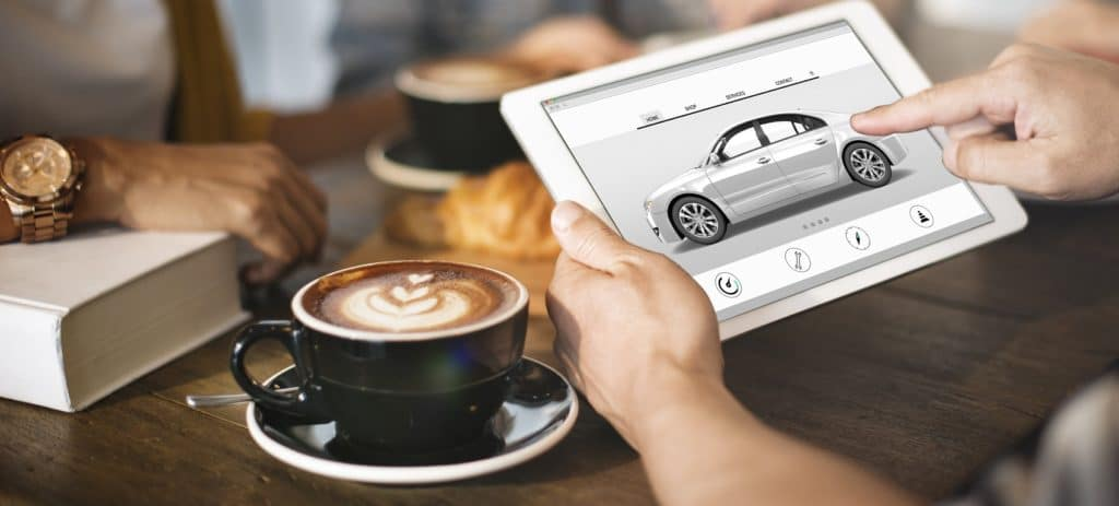 Buying a Car Online on Tablet