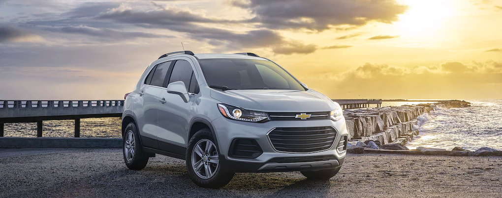A 2021 Chevy Trax parked in front of the ocean