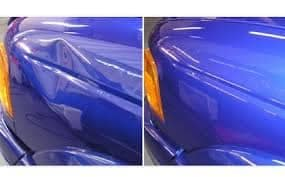 side-by-side of dent repair