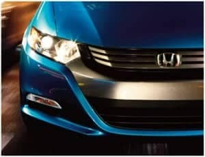 Blue car with headlight