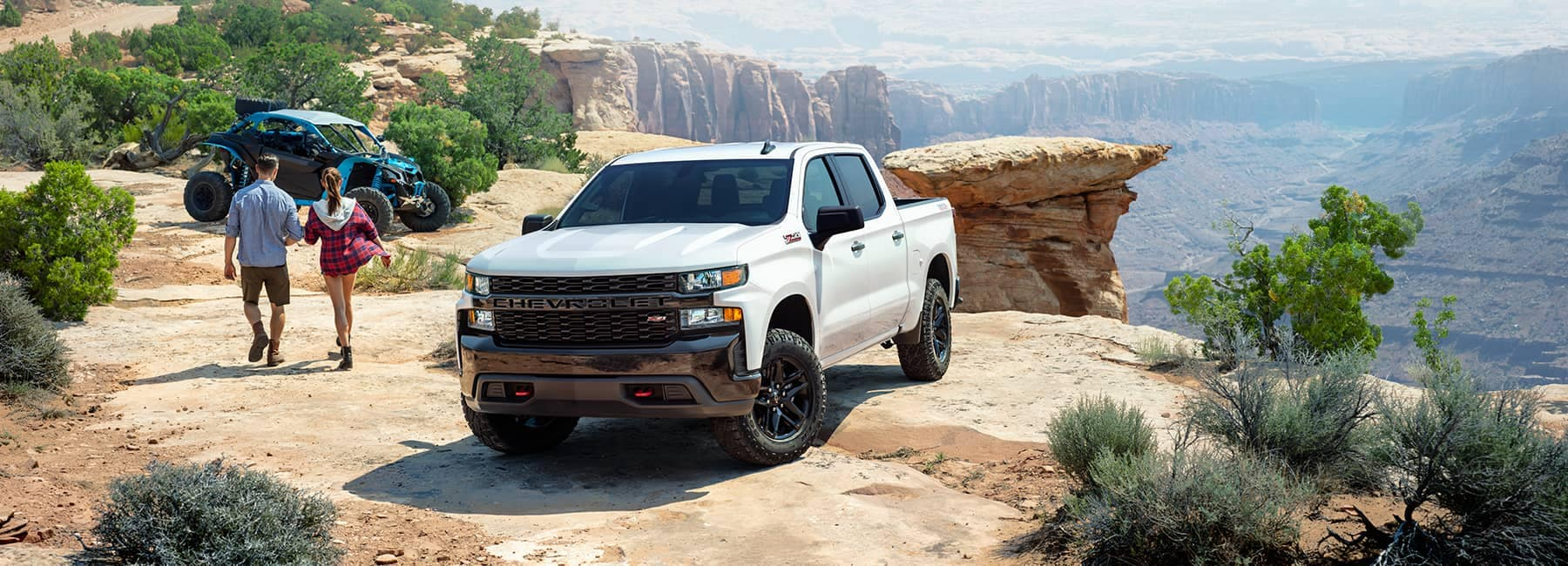 2020 White Chevy Truck by a cliff