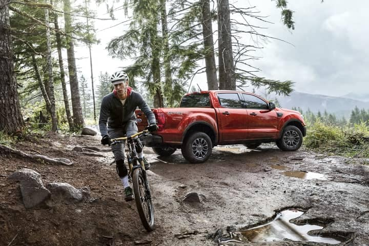2020 Ford Ranger XLT parked in muddy woods