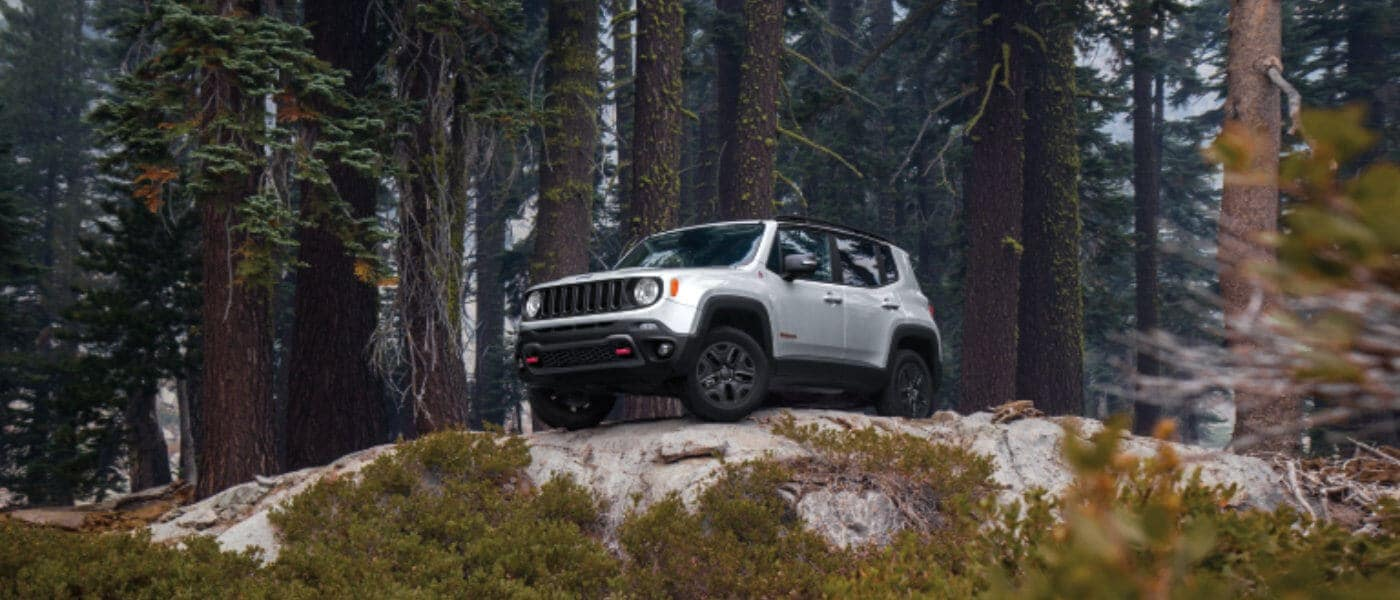 White 2019 Jeep Renegade on cliff